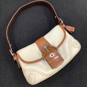 Coach leather buckle flap small shoulder bag